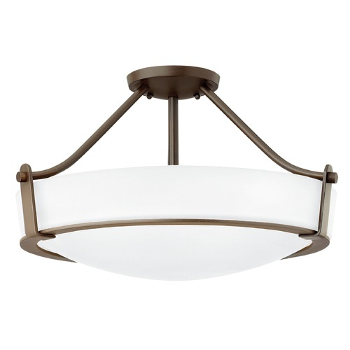 Hinkley Lighting Hinkley Lighting Hathaway Olde Bronze LED Semi-Flushmount Light 3221OB-WH-LED