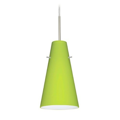 Besa Lighting Besa Lighting Cierro Satin Nickel Mini-Pendant Light with Conical Shade 1JT-412435-SN