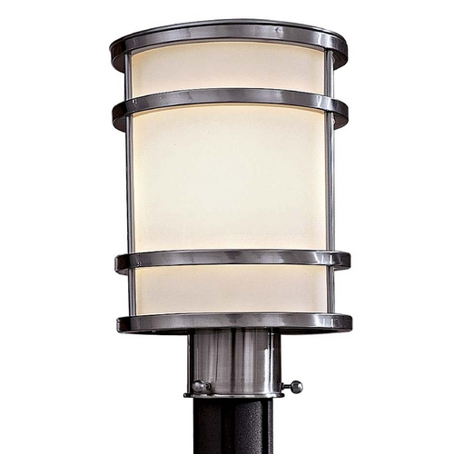 Minka Lavery Modern Post Light with White Glass in Brushed Stainless Steel Finish 9806-144-PL