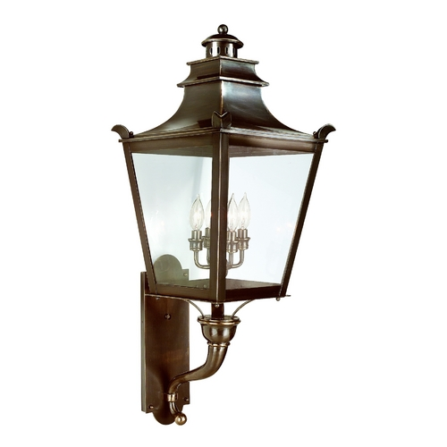 Troy Lighting Outdoor Wall Light with Clear Glass in English Bronze Finish B9495EB