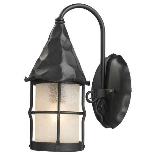Elk Lighting Outdoor Wall Light with Beige / Cream Glass in Matte Black Finish 381-BK