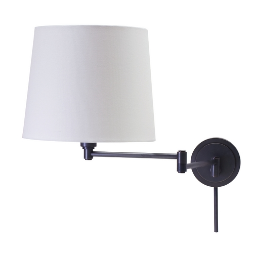 House of Troy Lighting Swing Arm Lamp with White Shade in Oil Rubbed Bronze Finish TH725-OB