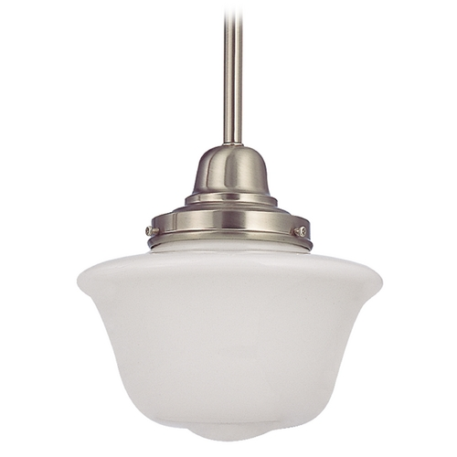 Design Classics Lighting 8-Inch Mini-Pendant Light in Satin Nickel with Schoolhouse Glass FB4-09 / GD8