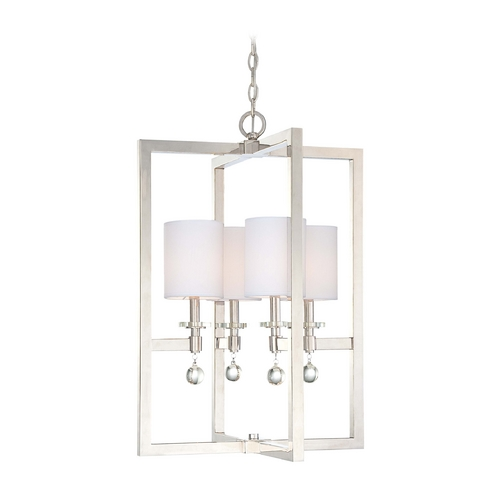 Metropolitan Lighting Modern Pendant Light with White Shades in Polished Nickel Finish N6841-613