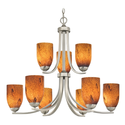 Design Classics Lighting Modern Chandelier with Brown Art Glass in Satin Nickel Finish 586-09 GL1001D