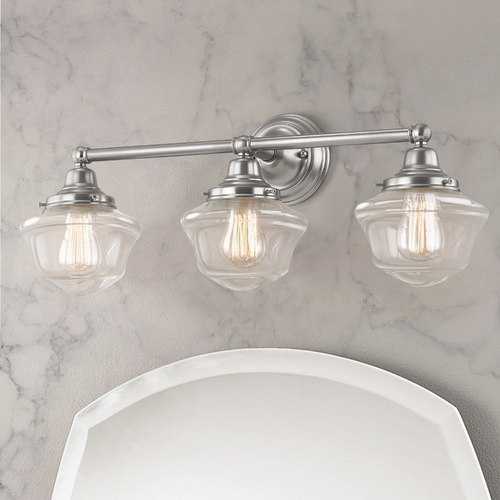Design Classics Lighting Clear Glass Schoolhouse Bathroom Light Satin Nickel 3 Light 23.125 Inch Length WC3-09 GC6-CL