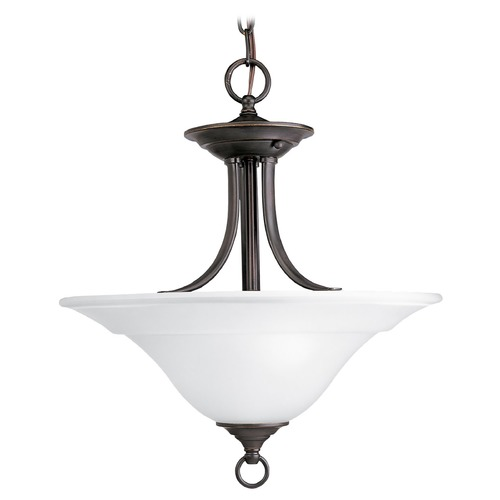 Progress Lighting Progress Semi-Flushmount Light with White Glass in Bronze Finish P3473-20