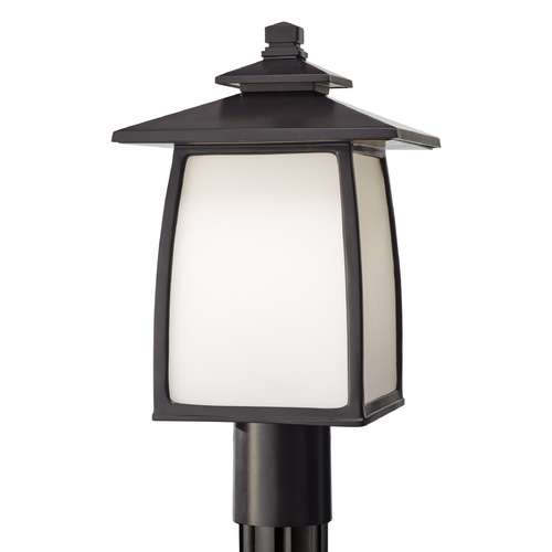 Sea Gull Lighting Post Light with White Glass in Oil Rubbed Bronze Finish OL8508ORB