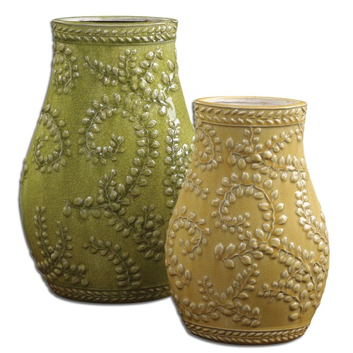 Uttermost Lighting Uttermost Trailing Leaves Ceramic Vases, Set of 2 19695