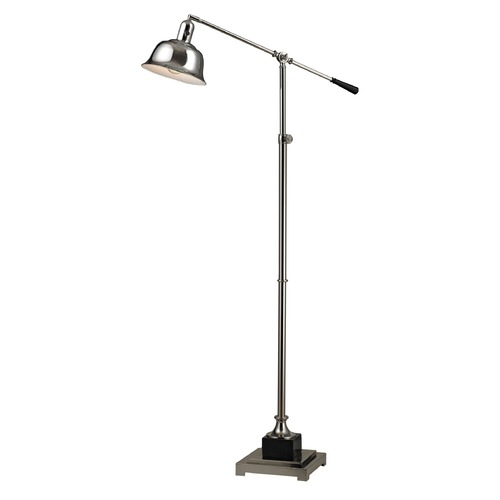 Dimond Lighting Dimond Lighting Polished Nickel, Black Floor Lamp with Bell Shade D2410