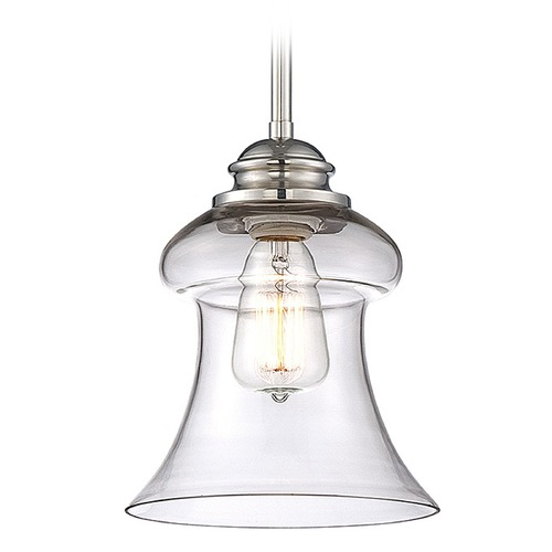 Savoy House Savoy House Polished Nickel Mini-Pendant Light with Bell Shade 7-4132-1-109
