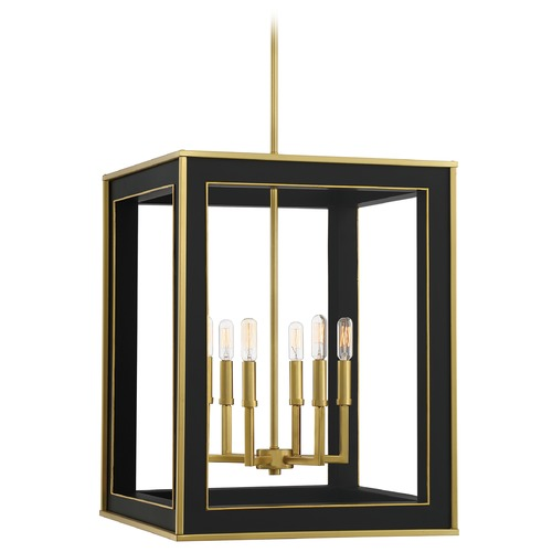 Quoizel Lighting Quoizel Lighting Burwell Matte Black with Satin Brass Pendant Light BUR5218MBK