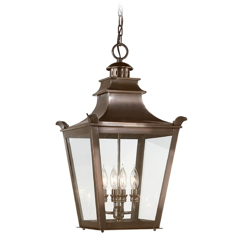 Troy Lighting Outdoor Hanging Light with Clear Glass in English Bronze Finish F9499EB