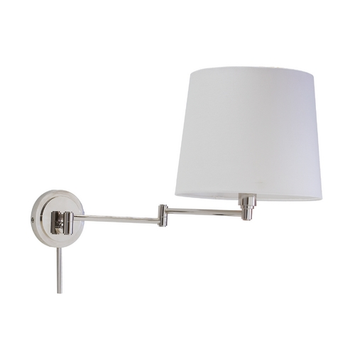 House of Troy Lighting Swing Arm Lamp with White Shade in Polished Nickel Finish TH725-PN