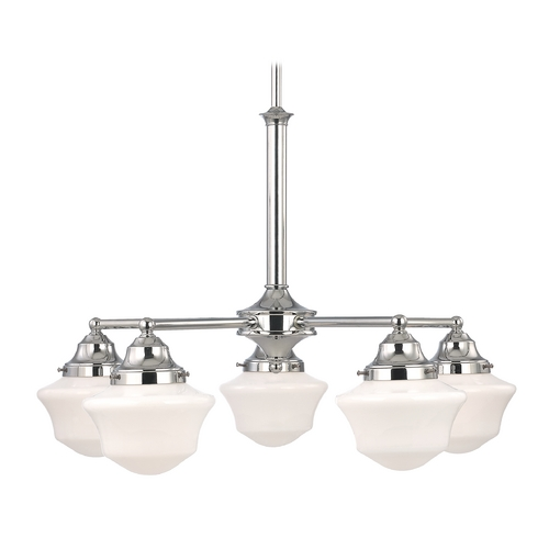 Design Classics Lighting Schoolhouse Chandelier in Chrome Finish with Five Lights CA5-26 / GC6
