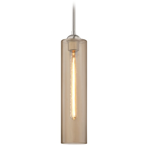 Design Classics Lighting Satin Nickel Mini-Pendant Light with Amber Cylinder Glass 581-09 GL1650C
