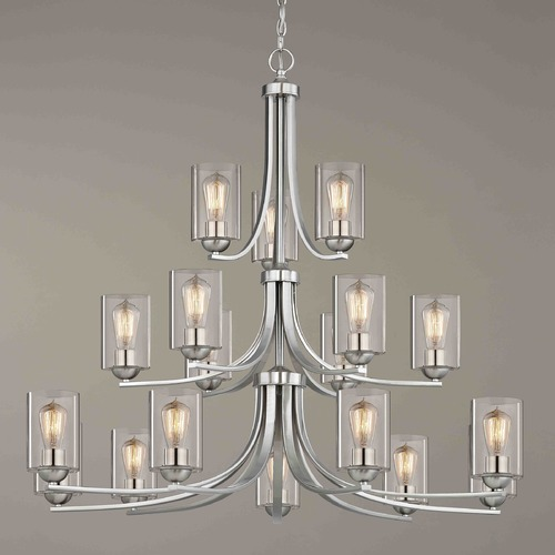 Design Classics Lighting Satin Nickel Chandelier 5863-09 GL1040C