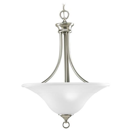 Progress Lighting Progress Pendant Light with White Glass in Brushed Nickel Finish P3474-09