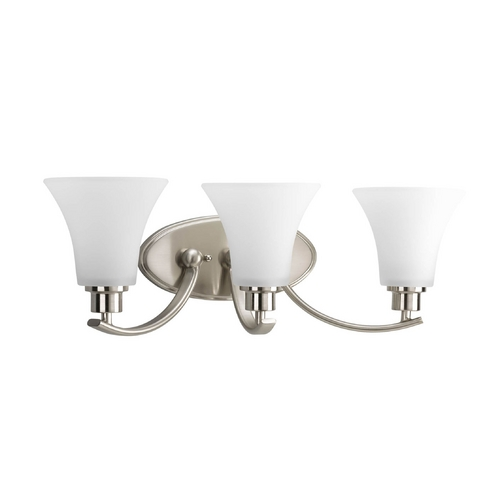 Progress Lighting Progress Bathroom Light with White Glass in Brushed Nickel Finish P2002-09
