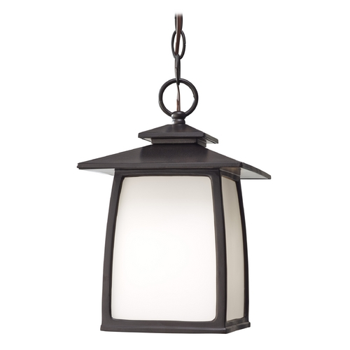 Feiss Lighting Outdoor Hanging Light with White Glass in Oil Rubbed Bronze Finish OL8511ORB