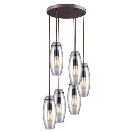 Elk Lighting Elk Lighting Oil Rubbed Bronze Multi-Light Pendant with Oblong Shade 60044-6R