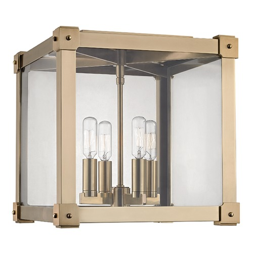 Hudson Valley Lighting Forsyth 4 Light Flushmount Light Square Shade - Aged Brass 8600-AGB