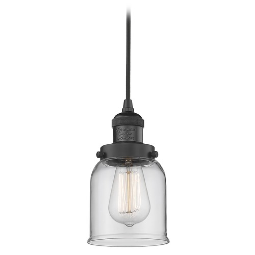 Innovations Lighting Innovations Lighting Small Bell Matte Black Mini-Pendant Light with Bell Shade 201C-BK-G52