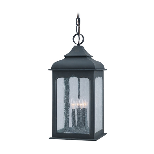 Troy Lighting Outdoor Hanging Light with Clear Glass in Colonial Iron Finish FF2018CI