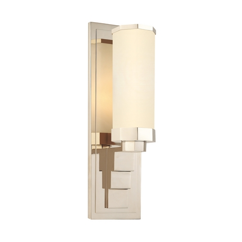 Sonneman Lighting Modern Sconce Wall Light with White Glass in Polished Nickel Finish 1835.35