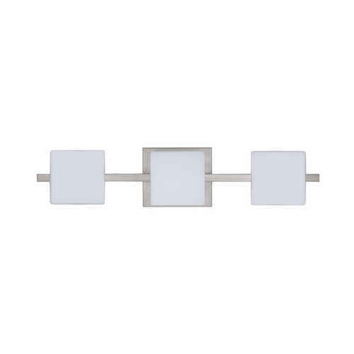 Besa Lighting Modern Bathroom Light White Glass Satin Nickel by Besa Lighting 3WS-773507-SN