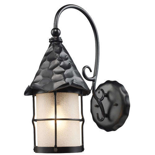 Elk Lighting Outdoor Wall Light with Beige / Cream Glass in Matte Black Finish 385-BK