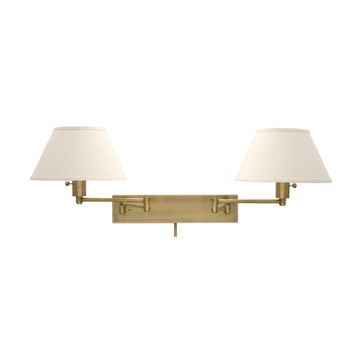 House of Troy Lighting Swing Arm Lamp with White Shades in Antique Brass Finish WS14-2-71