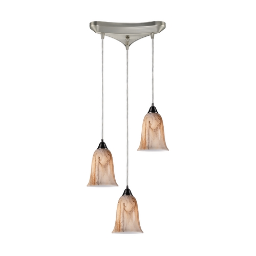 Elk Lighting Modern Multi-Light Pendant Light with Alabaster Glass and 3-Lights 31138/3