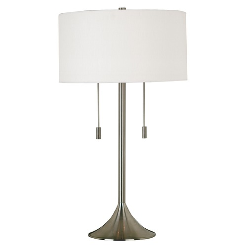 Kenroy Home Lighting Modern Drum Table Lamp with White Shade in Brushed Steel Finish 21404BS