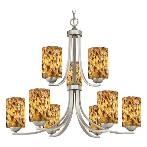 Design Classics Lighting Satin Nickel Chandelier 586-09 GL1005C