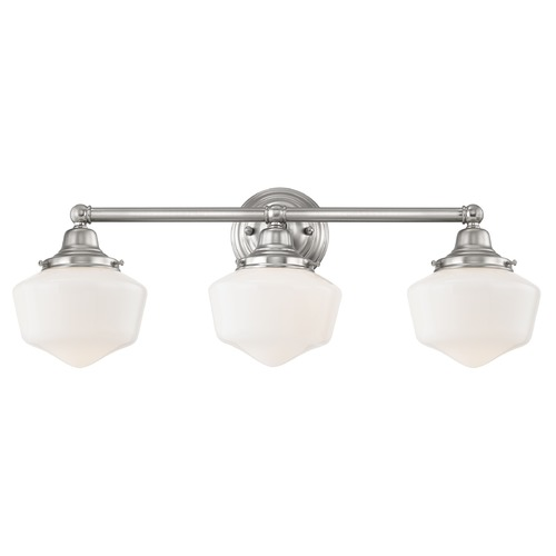 Design Classics Lighting Schoolhouse Bathroom Light Satin Nickel White Opal Glass 3 Light 23.125 Inch Length WC3-09 GF6