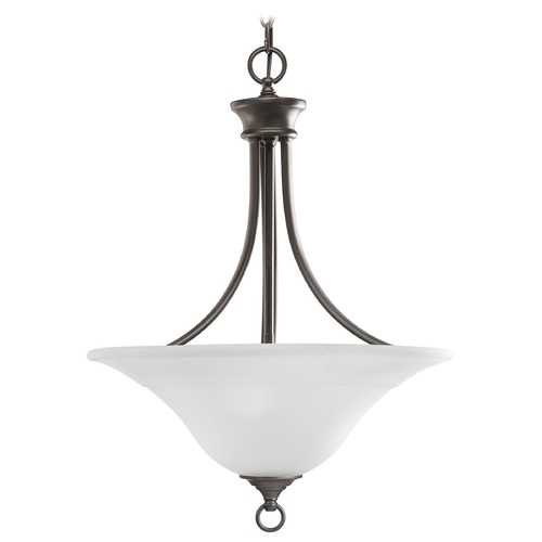 Progress Lighting Progress Pendant Light with White Glass in Antique Bronze Finish P3474-20