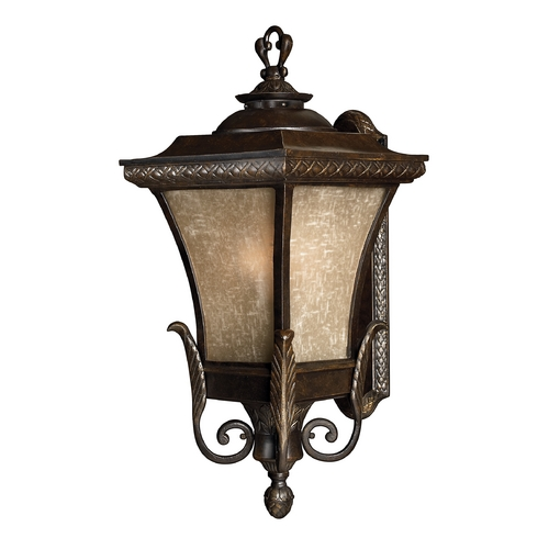 Hinkley Lighting Outdoor Wall Light with Amber Glass in Regency Bronze Finish 1935RB