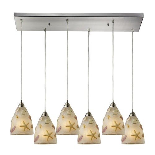Elk Lighting Modern Multi-Light Pendant Light with Beige / Cream Glass and 6-Lights 20000/6RC