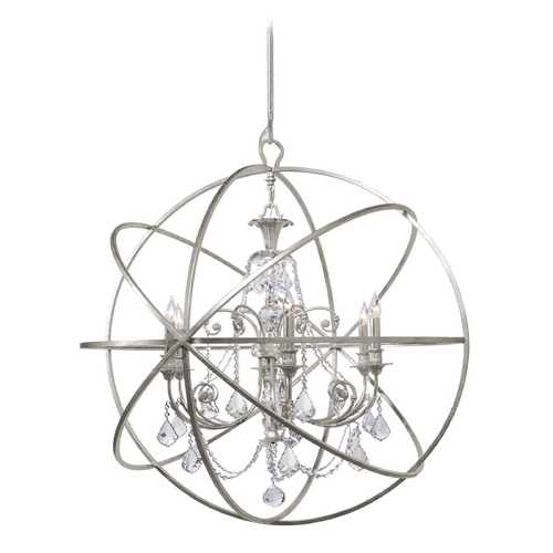 Crystorama Lighting Pendant Light in Olde Silver Finish 9219-OS-CL-S
