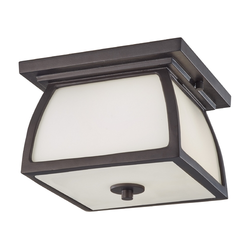 Sea Gull Lighting Close To Ceiling Light with White Glass in Oil Rubbed Bronze Finish OL8513ORB