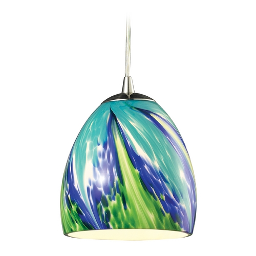 Elk Lighting Mini-Pendant Light with Blue Glass 31445/1TB