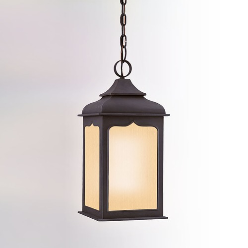 Troy Lighting Outdoor Hanging Light with Clear Glass in Colonial Iron Finish FF2017CI