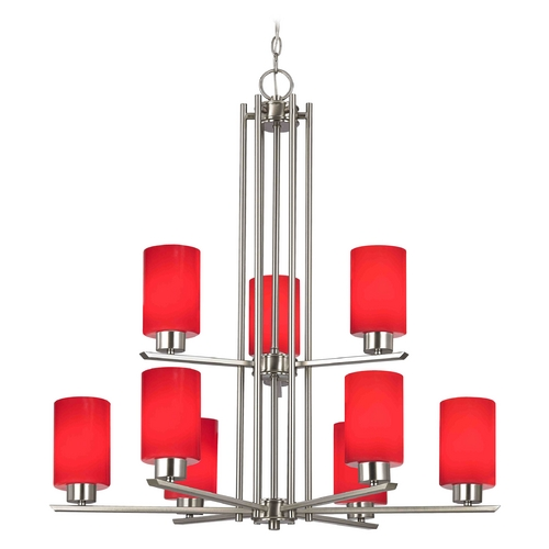Design Classics Lighting Chandelier with Red Glass in Satin Nickel - 9-Lights 1122-1-09 GL1008C