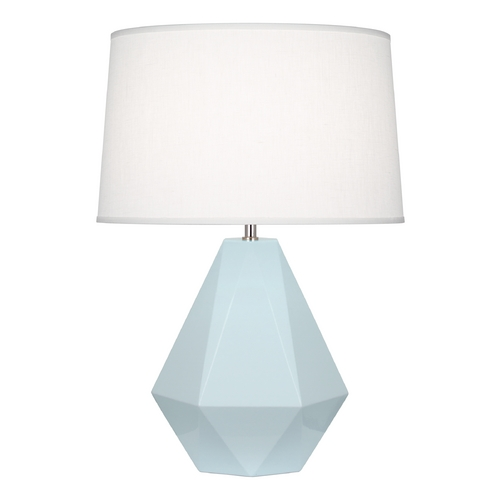 Robert Abbey Lighting Modern Art Deco Table Lamp Baby Blue / Polished Nickel Delta by Robert Abbey 936