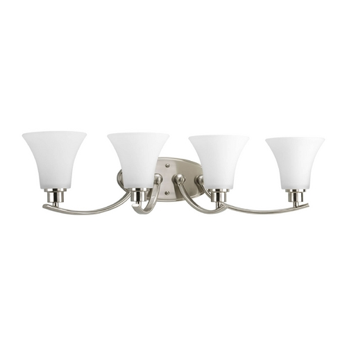 Progress Lighting Progress Bathroom Light with White Glass in Brushed Nickel Finish P2003-09