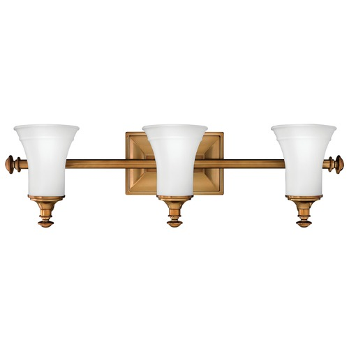 Hinkley Lighting Bathroom Light with White Glass in Brushed Bronze Finish 5833BR