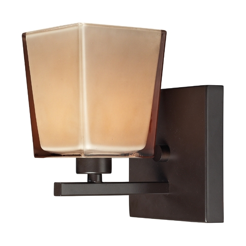 Elk Lighting Sconce Wall Light with Brown Glass in Oiled Bronze Finish 11436/1