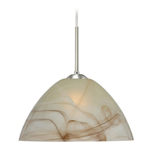 Besa Lighting Besa Lighting Tessa Satin Nickel LED Pendant Light with Bowl / Dome Shade 1JT-420183-LED-SN