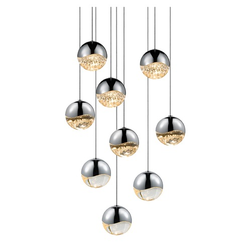 Sonneman Lighting Sonneman Grapes Polished Chrome 9 Light LED Multi-Light Pendant   2916.01-MED